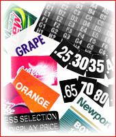 Price tabs, Soda flavor cards, Decals, and Cigarette labels