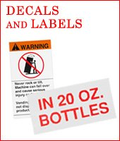 Decals & Labels - for Vending, Bill Changers, Cigarette, and Amusement