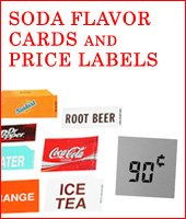 Soda Flavor Cards, Price Labels, & Coin Insert Decal