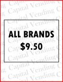 "Price Labels for Cigarette Vendors ""ALL BRANDS $?.??"" Available in $0.25 Increments - 4.24"" x 5.25"""