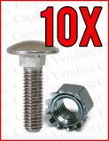 Lot of 10 - 8/32 Carriage Bolt & Keps Nut